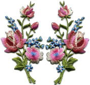 Mauve pink roses pair flowers floral bouquet boho embroidered appliques iron-ons patches new