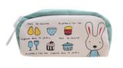 Drasawee Cute Canvas Rabbit Figure Students Girls Stationery Pen Bag Pencil Case Organiser Green1#