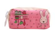 Drasawee Cute Canvas Rabbit Figure Students Girls Stationery Pen Bag Pencil Case Organiser Pink2#