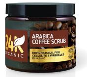 24K Organic Arabica Coffee Scrub, Contains Vitamin E. & Shea Butter, Therapy for Varicose Veins, Cellulite, Stretch Marks, Eczema and Acne, Deep Skin Exfoliator, 240ml