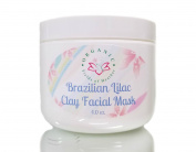 Organic Brazilian Lilac Clay Facial Mask, Aloe, Vitamin E, Carrot Seed Oil, Primrose & Green Tea