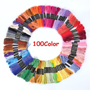 Cross Stitch Floss Soft Cotton Embroidery Sewing Threads 8M 100 Rainbow Colour