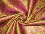Spun Silk Brocade Fabric Multi Colour & Metallic Gold 110cm