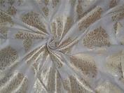 100% cotton brocade ivory with gold metallic motifs BRO543[1]