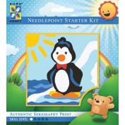 Needleart World Needlepoint Starter Kit 15cm x 15cm ~ DANCING PENGUIN #1044