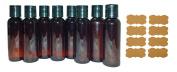 SanDaveVA Brand 2oz Plastic Bottles AMBER PET Qty 8 w/ Smooth Black Disc Top Caps & Free Kraft Labels 60ml or 2 Oz