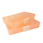Beads Rhinestone Jewellery transparent clear orange Storage Plastic Box Case organiser container 10 Grids / Slots with Removable Dividers