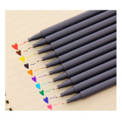 10-Pcs Assorted Colours Inking Pens Fineline Colours Pen Set for Adult Colouring Books Fine Point Detail Line Drawing Pen Set 0.38mm Rollerball for School Office Writing Pens Non-bleed Anti Skip