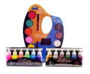 Watercolour Palette - 12 colours plus mixing slot - 12 Colour Glitter Glue Set - 20 ml Bottles - Neon Colours - Classic Colours
