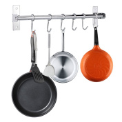 BTSKY 15.7 Inch/40CM Wall Mounted Stainless Steel Pan Pot Rack Kitchen Utensils Hanger Organiser With 6-Hooks