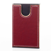 MGS ID Credit Business Card Holder Case U Shaped Sliding Red Leatheroid Business Present Wedding Gift