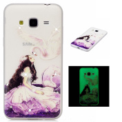 Samsung Galaxy J3 Case,Samsung Galaxy J3 2016 Clear Case,TOYYM Ultra Slim Transparent Soft TPU Case with Bling Glitter Diamond,Creative Swan and princess Pattern Design Glow in the Dark Silicone Protective Back Cover Case for Samsung Galaxy J3/J3 2016