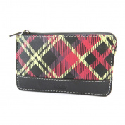 "Leather purses 'Mundi'red black (scottish)- 12x7.5 cm (4.72""x2.95"")."