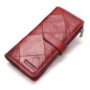 Contacts Mens Genuine Leather Bifold Trifold Card Holder Zipper Coin Purse Long Wallet Red