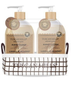Tuscan Hills Vanilla Almond Hand Wash & Lotion Set With Fabric Caddy