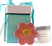 Giftwrapped Unscented Calamine and Turmeric Soap and Shea Butter Argan Cream Hand Care Kit, fragrance free, ready to present