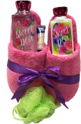 Bath & Body Works Slipper Gift Sets - Gift Baskets - Fun House Slippers (L), Body Cream, Shower Gel, Bath Poof, Lip Balm - Lots of Scents to Choose From