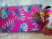 Bath and Body Work Cute Make-Up Bag Pink w/Palm Leave UNDER THE PALMS in Gold Lettering, 30ml Hand Cream WATERMELON LEMONADE w/Pink & Orange Striped Holder w/Gold Palm Tree