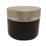 3 Pcs 50 g Amber Glass Makeup Cream Jar Packaging Container w Matt Silver Plastic Lid
