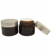 2 Pcs 50 g Amber Glass Makeup Cream Jar Packaging Container w Matt Silver Plastic Lid