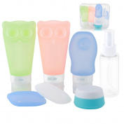 Scheam Travel Bottles Set Leak Proof TSA Approved Silicone Containers BPA Free with Toothbrush Cover Cosmetic Containers for Cosmetic Shampoo Lotion