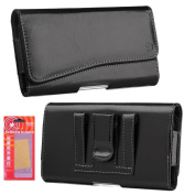 for Samsung Galaxy S8 Premium Holster, PU Leather Pouch Case with Loops Belt Clip, Card ID Holder Wallet Case Kaede [Screen Guard] Protector for Galaxy S8