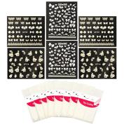 ALLYDREW Nail Art Kit - Flowers & Bows Nail Art Stickers Nail Decals & Nail Art Stencils Nail Guides