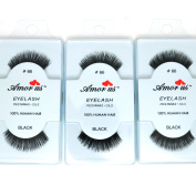 3 Pairs AmorUs 100% Human Hair False Long Eyelashes Medium # 66 + FREE EARRING