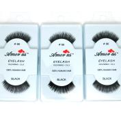 3 Pairs AmorUs 100% Human Hair False Long Eyelashes Medium # 66 + FREE EARRING