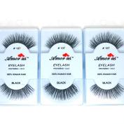 3 Pairs AmorUs 100% Human Hair False Long Eyelashes # 107 + FREE EARRING
