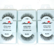 3 Pairs AmorUs 100% Human Hair False Long Eyelashes Medium # 82 + FREE EARRING