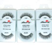 3 Pairs AmorUs 100% Human Hair False Long Eyelashes Medium # 82 + FREE EARRING