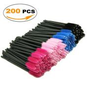 Mascara Brushes, LEOKOR 200 Pieces Disposable Mascara Wands Eye Lash Brushes Eyelash Applicators Makeup Brush Kit