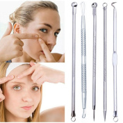 YANQINA 5Pcs Stainless Steel Blackhead Acne Remover Needle Tool Pimples Extractor Tool Skin Care