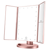 Spaire Makeup Mirror Trifold LED Light Vanity Mirror 1X / 2X / 3X Magnification Battery and USB Charging 180 Degree Adjustable Free Rotation