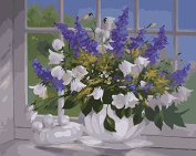 Prime Leader Wooden Framed Diy Oil Painting, Paint by Number Kit 41cm x 50cm Campanula and lavender