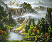 Prime Leader Wooden Framed Diy Oil Painting, Paint by Number Kit 41cm x 50cm beautiful mountains and clear waters