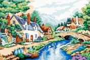 Prime Leader Wooden Framed Diy Oil Painting, Paint by Number Kit 41cm x 50cm Small Bridge and Hut