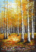Prime Leader Wooden Framed Diy Oil Painting, Paint by Number Kit 41cm x 50cm Betula platyphylla