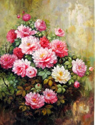 Prime Leader Wooden Framed Diy Oil Painting, Paint by Number Kit 41cm x 50cm peony 5