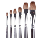 ARTIST PAINT BRUSHES - Top Quality Red Sable (Weasel Hair) Long Handle, Flat Paint Brush Set For Acrylic, Oil, Gouache and Watercolour Painting Offering Excellent Paint Holding and Easy Flow of Paint