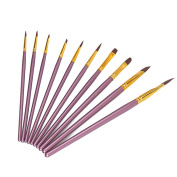 StarVast Painting Brushes, 10pcs Professional Flat Paint Brush Set for Watercolour/Oil/Acrylic/Crafts/Rock/Face Painting and Gouache-Purple