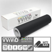 VViViD Matte Black 30cm x 210cm (2.1m) DECO65 Permanent Adhesive Craft Vinyl for Cricut, Silhouette & Cameo