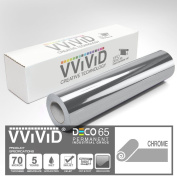 VViViD Chrome Silver Gloss 30cm x 210cm (2.1m) DECO65 Permanent Adhesive Craft Vinyl for Cricut, Silhouette & Cameo
