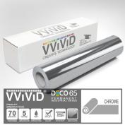 VViViD Chrome Silver Gloss 30cm x 210cm (2.1m) DECO65 Permanent Adhesive Craft Vinyl for Cricut, Silhouette & Cameo