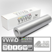 VViViD Silver Metallic Gloss 30cm x 210cm (2.1m) DECO65 Permanent Adhesive Craft Vinyl for Cricut, Silhouette & Cameo