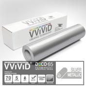 VViViD Silver Metallic Gloss 30cm x 210cm (2.1m) DECO65 Permanent Adhesive Craft Vinyl for Cricut, Silhouette & Cameo