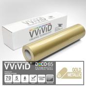 VViViD Gold Metallic Gloss 30cm x 210cm (2.1m) DECO65 Permanent Adhesive Craft Vinyl for Cricut, Silhouette & Cameo