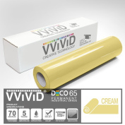 VViViD Cream Gloss 30cm x 210cm (2.1m) DECO65 Permanent Adhesive Craft Vinyl for Cricut, Silhouette & Cameo