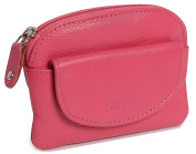 SADDLER Womens Leather Zip Top Coins & Key Purse - Front Flap Pocket - Fuchsia